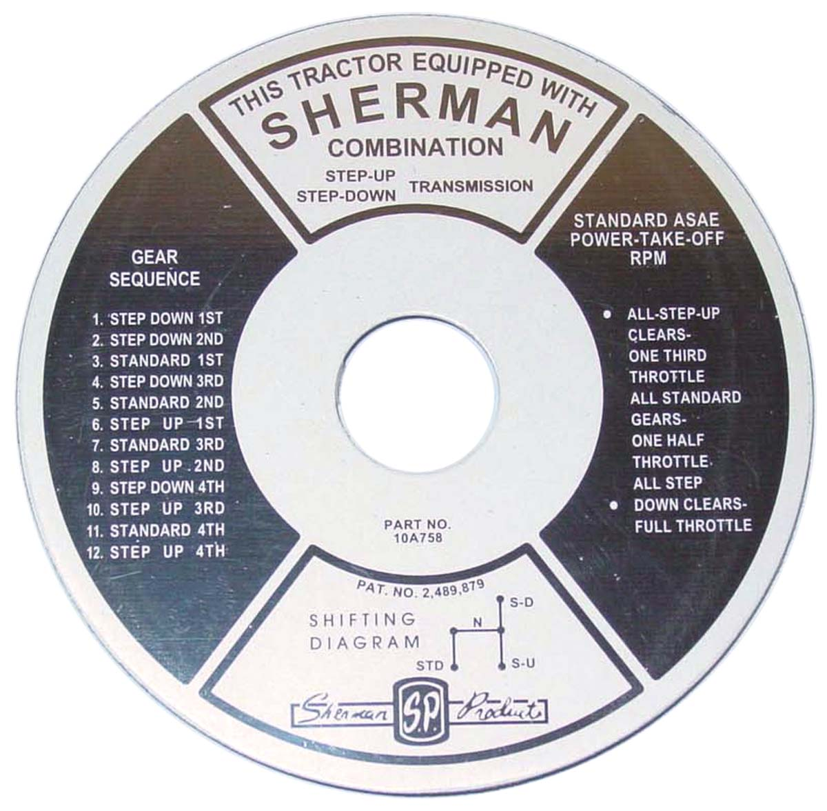 Fds163 Sherman Transmission Instruction Plate Ford N